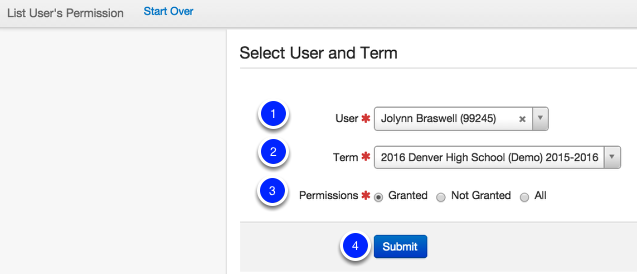 Select User and Term