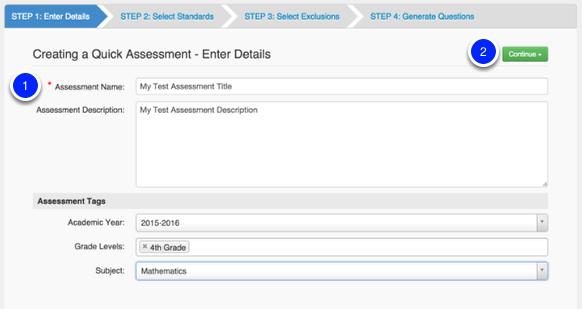 Create a Quick Assessment
