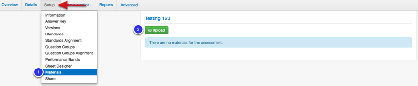 Attach Materials (What students will view next to the online answer key)
