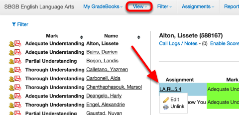 From the Student List View