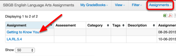 From Manage Assignments