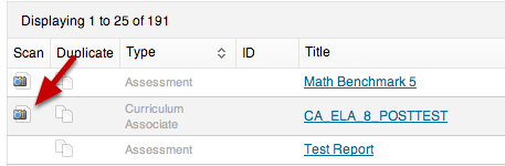 Scan Answer Sheets from the Assessment List