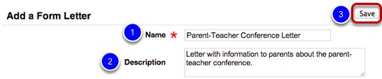 Enter Form Letter Information