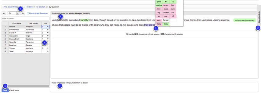 Entering Constructed Response Data using the 'By Question' page (Recommended)