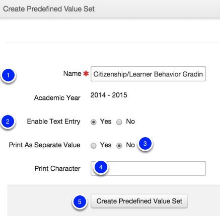 Create a Predefined Value Set