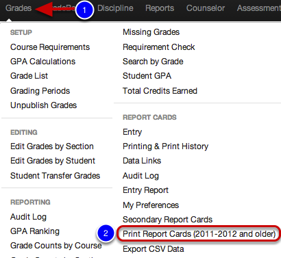 Print Report Cards 2011-2012 and Older