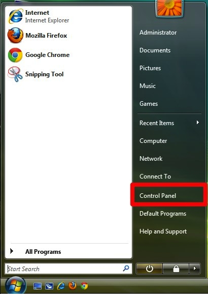 Go to the start menu and select Control Panel