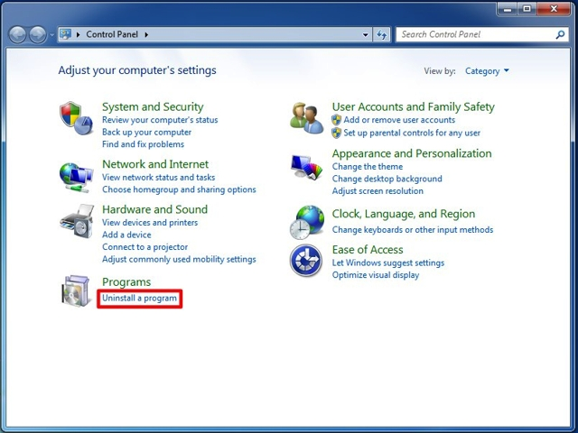 There are two view options in the control panel. If you are using View by Category, click on Uninstall a program under the Programs category