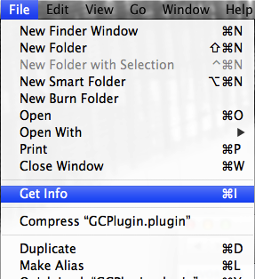 Click on the GCPlugin.plugin to select it, then go to the File menu and choose Get Info (or press the Command + I keys on the keyboard).