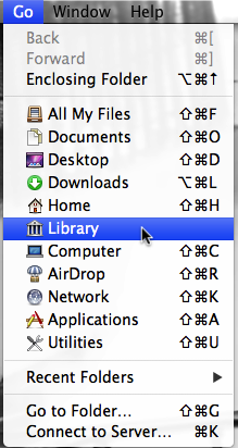 The process to find the GradeCam Plugin in Lion is exactly the same as for other versions of OS X except for the first step. In Lion, Apple has hidden the user's Library folder. To get to it go to Go menu, and press the option key. An option for Library will appear. Select the Library option to open a new window with the library in it.