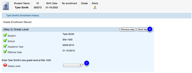 Select Grade Level in Enrollment Wizard