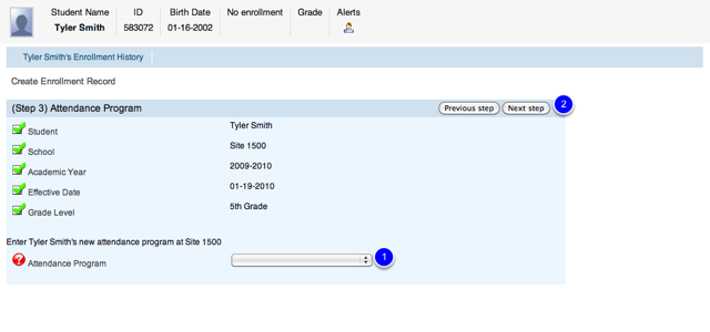 Choose Attendance Program in Enrollment Wizard