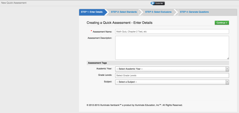 Creating a New Assessment (Quick Mode)