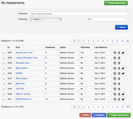Finding Assessments or Items you've created