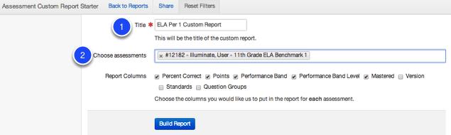 Adding Assessments to the Custom Report Starter