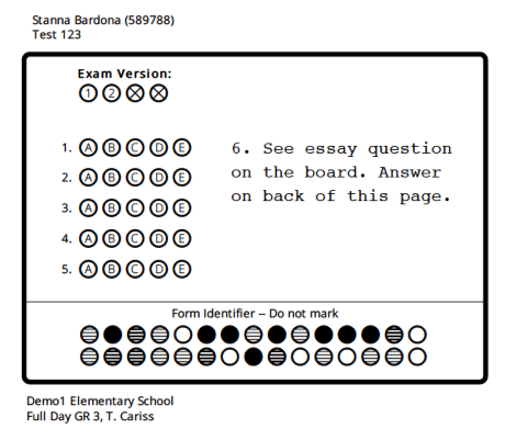 Has this answer sheet been modified?