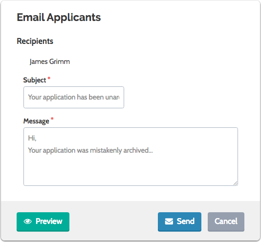 Enter your subject, compose your message and click to send