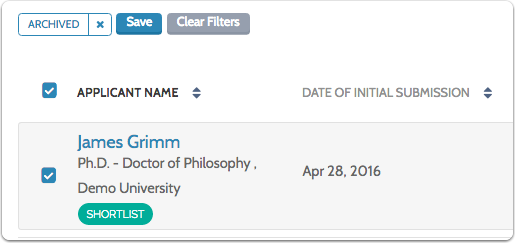 To unarchive the applicant, select their name in list