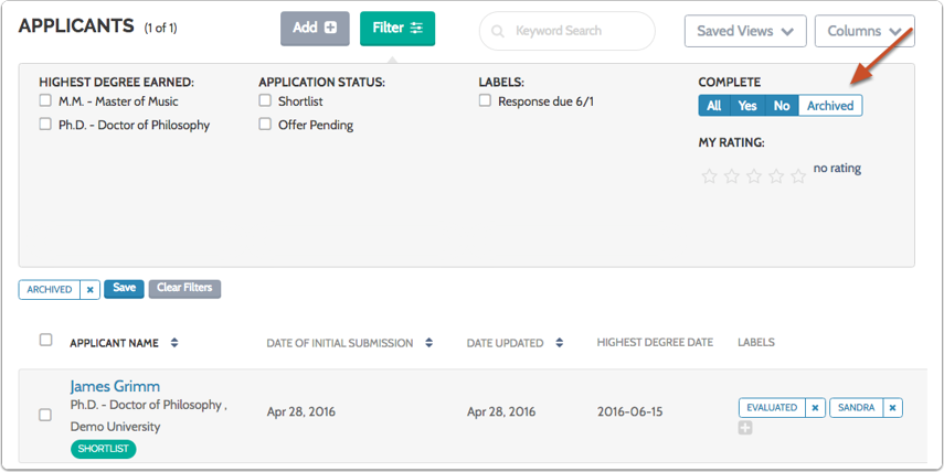 """The """"Archived"""" button will turn white, and the list of applicants will display only archived applications"""