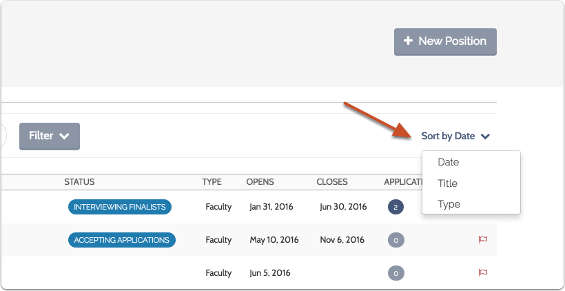 You can also sort the list by title, type of position, or open date