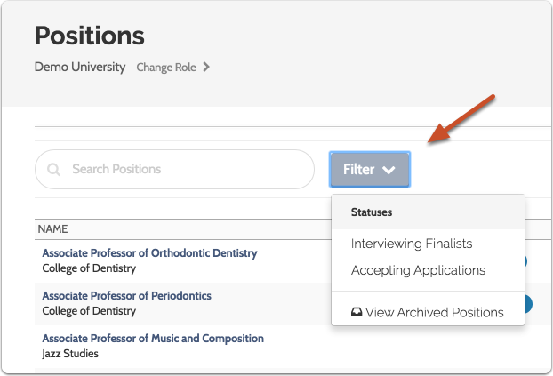 """The """"Filter"""" button allows you to limit the list according to status or view archived (closed) positions"""