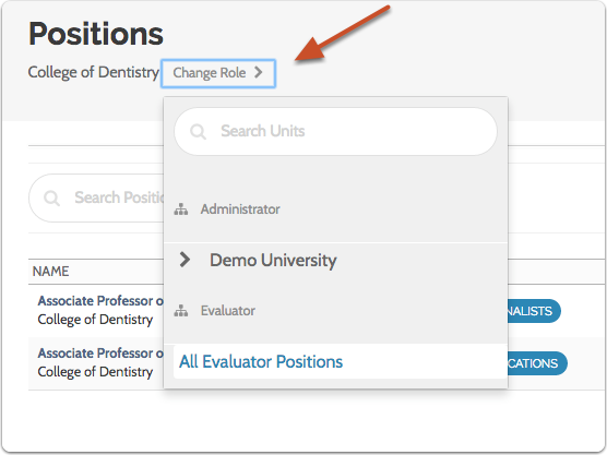 """Select """"Change Role"""" to change your scope within an institution, school, college, or department"""
