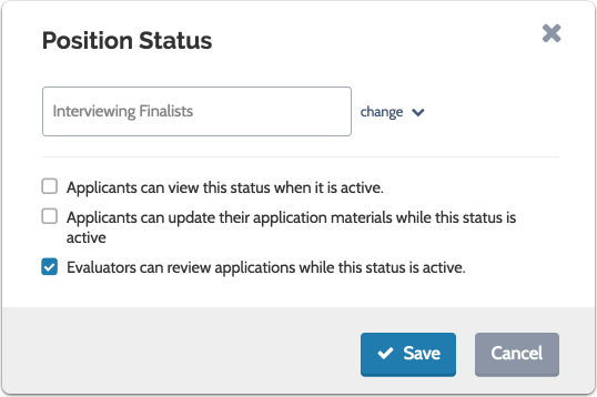Apply an existing status or create a new one