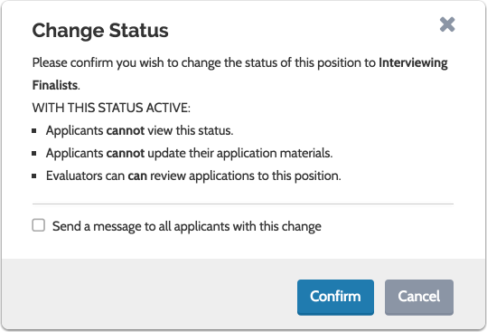 Confirm and notify applicants