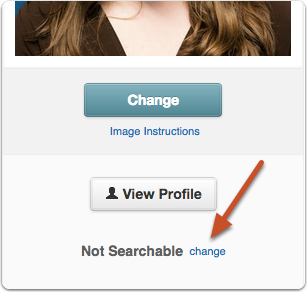 Click the change link next to the Searchable (or Not Searchable, as the case may be) label, located under your profile picture: