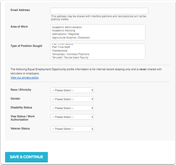 If you elect to make your Portfolio searchable, you will need to fill out more information