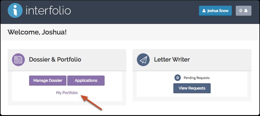 "Click ""My Portfolio"" on your Interfolio Account Dashboard"