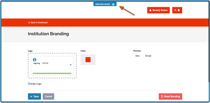 """Clicking """"Site"""" opens a preview mode of how your site will display to users"""