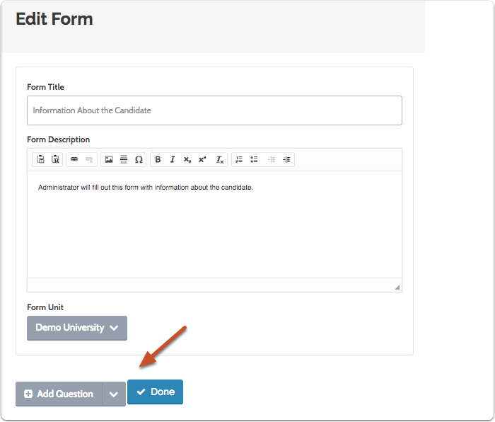 """Click """"Add Question"""" to add a question to the form"""