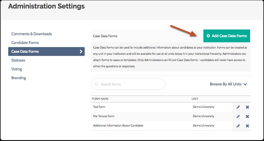 "Click ""Add Case Data Forms"" button"