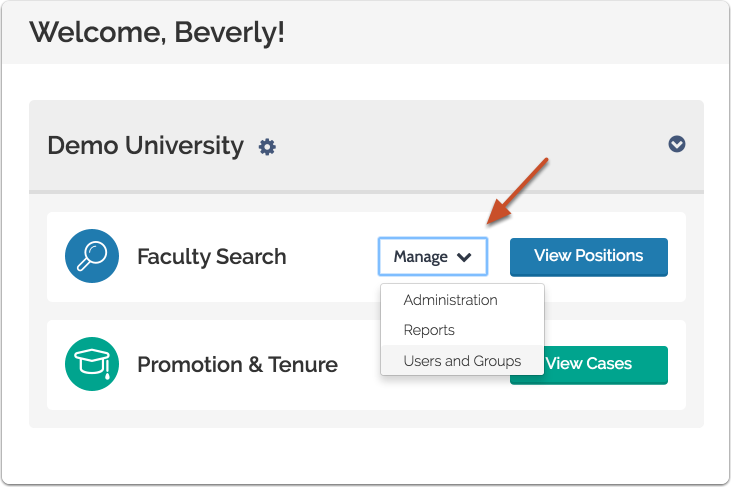"""To access Users & Units, click """"Manage"""" on your account dashboard and select """"Users & Groups"""""""