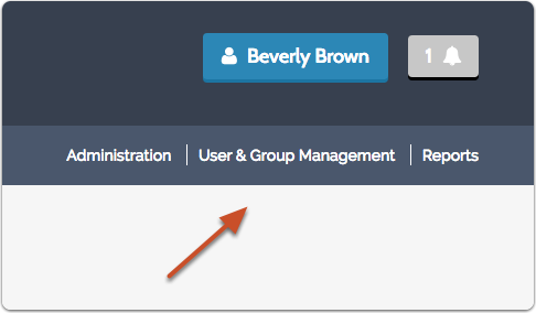 """-Or- click """"User & Group Management"""" in the right hand navigation bar that appears on most screens in the program"""