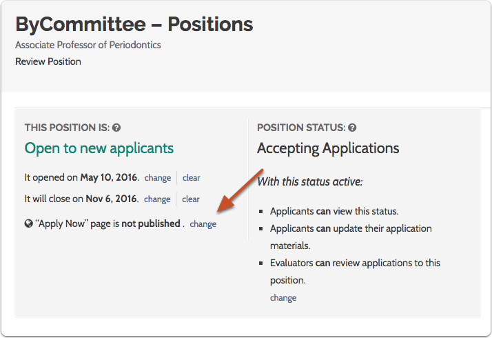 """Click the """"change"""" link to publish your """"Apply Now"""" page"""