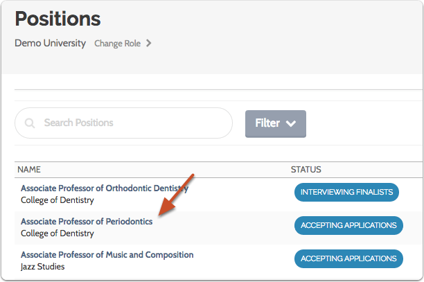 Click the name of the position you want to publish