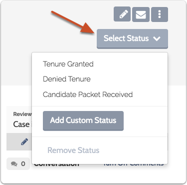 """Click """"Select Status"""" and choose a status from the list"""