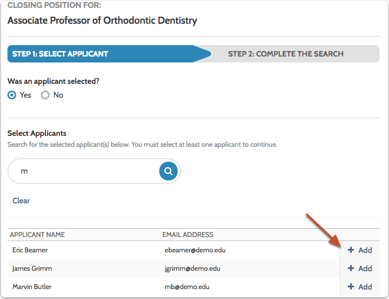 """If an applicants was selected, type the name in the search bar and click """"Add"""" when it appears"""