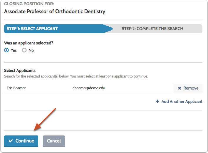"""Click """"Continue"""" when all of the applicants selected to fill the position have been added to the list"""