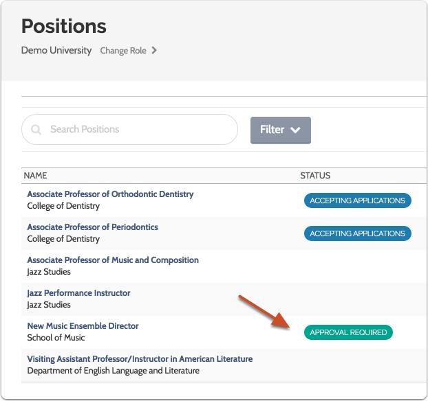 """The position awaiting your approval will appear in the list of positions with the status """"Approval Required"""""""