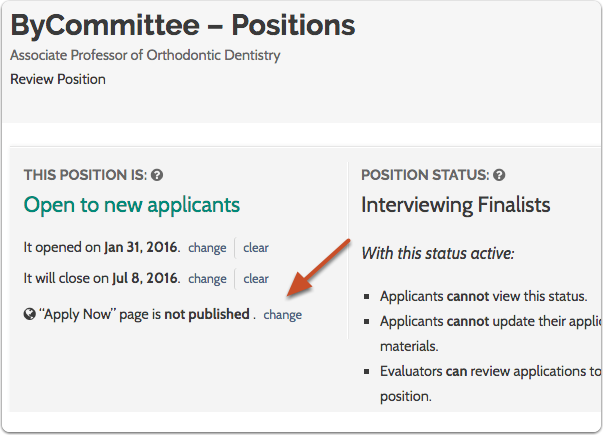 """You may also want to republish the """"Apply Now"""" page for the position"""