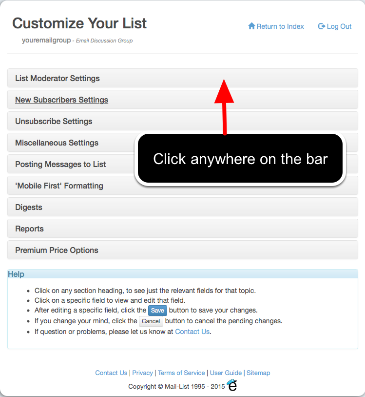 To make changes to fields in a category, click on the category name or anywhere on the same bar. For example: