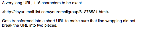 Email sent to mailing list with short URL