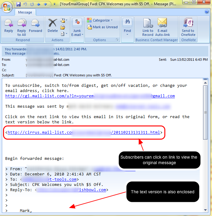Here is an example of an email that your subscribers will get when you forward an HTML email to them.