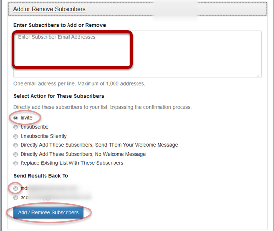 """Click on """"Add or Remove Subscribers"""", fill out the details and click """"Add/Remove Subscribers"""":"""