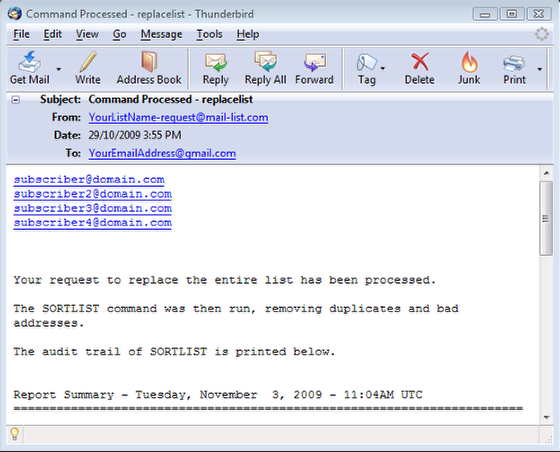 You will receive another email showing the processing of the command with some additional details: