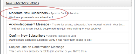 """Click on the link """"Moderate New Subscribers"""" under """"New Subscribers Settings"""":"""