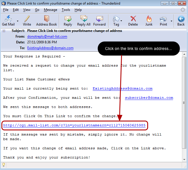 Click on the link to confirm the change in one of the emails: